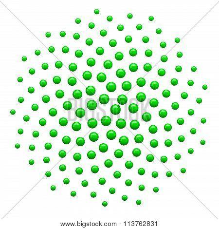 Clipart 3D Green Spiral Fibonacci Mathematics Dot Pattern - Royalty Free Vector Illustration