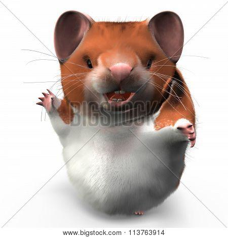 Hamster Waving Happily