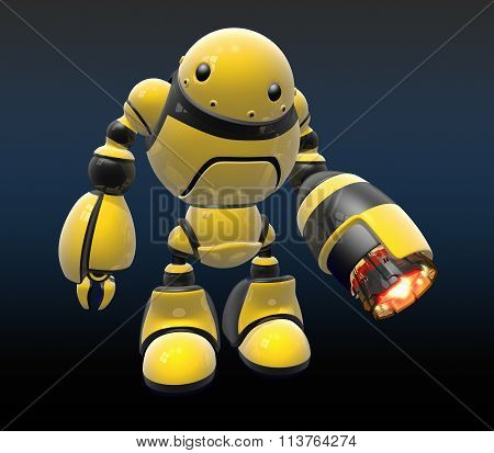 Industrial Worker Bot With Black Background