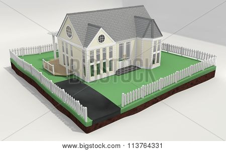 New Home And With Picket Fence 3D