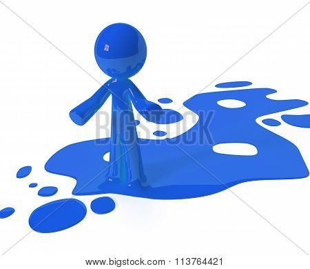 Blue Paint Person Character Emerging From Puddle