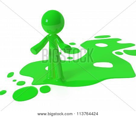 Green Paint Person Character Emerging From Puddle