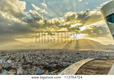 Ray of sunshine sunset in Nha Trang