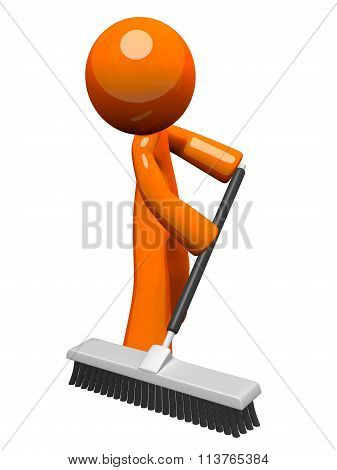 Orange Man Pushing A Broom, Sweeping