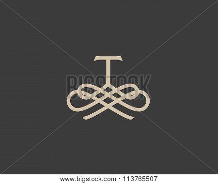 Abstract monogram elegant flower logo icon design. Universal creative premium letter T initials orna