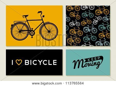 Bike Outline Concept Set Retro Pattern Label Text