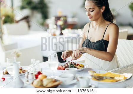 Stunning Lady Having Lunch