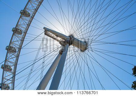 LONDON, UK - SEPTEMBER 10, 2015: London eye is a giant Ferris wheel opened on 31 December 1999, the