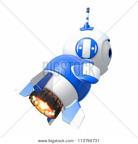 Little Blue Rocket Bot Blasting Off