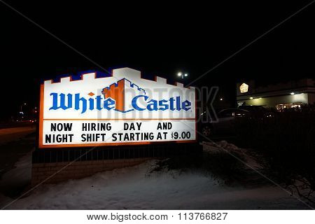 White Castle Restaurant at Night