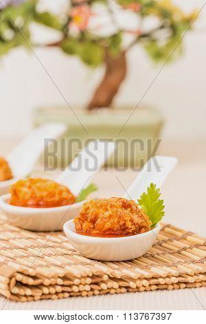 Coconut Chicken Appetizer Closeup