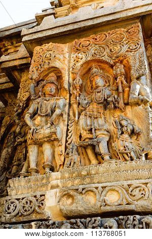 Sculpture of Hindu deities on the walls of Hoysaleswara temple at Halebidu, Karnataka