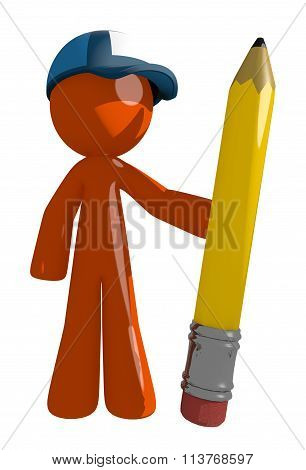 Orange Man Postal Mail Worker Holding Giant Pencil