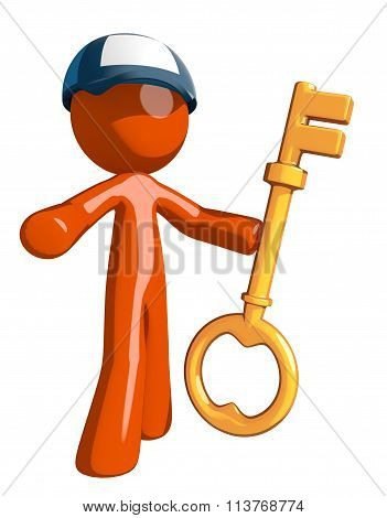 Orange Man Postal Mail Worker Holding Key