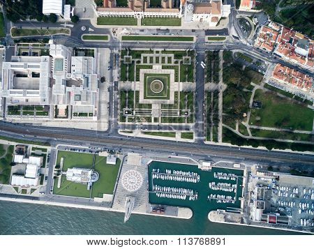 Top View of The Jeronimos Monastery and Monument to the Discoveries, Lisbon, Portugal