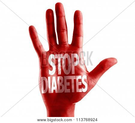 Stop Diabetes written on hand isolated on white background
