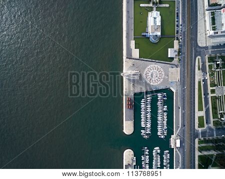 Top View of Monument to the Discoveries and Huge Compass Rose, Lisbon, Portugal