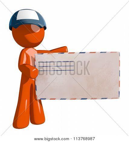 Orange Man Postal Mail Worker Large Envelope