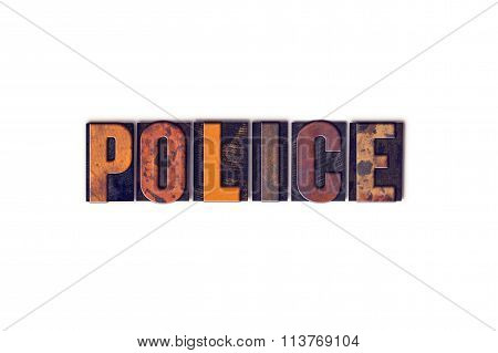 Police Concept Isolated Letterpress Type