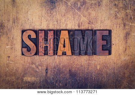 Shame Concept Wooden Letterpress Type