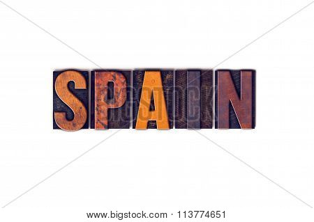 Spain Concept Isolated Letterpress Type