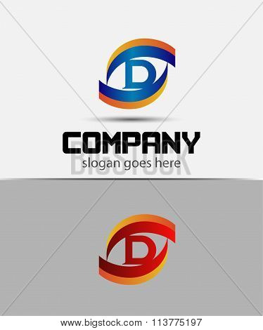 Eye logo element with letter D icons