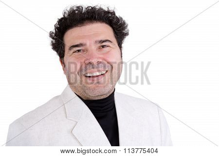 Cute Adult Man In White Jacket Laughing