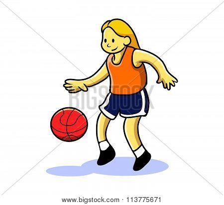 Girl Teen Playing Basketball