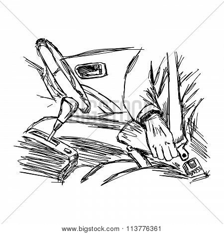 Illustration Vector Doodle Hand Drawn Of Sketch Hand Fastening Seat Belt In Car.