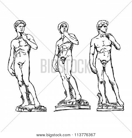 Illustration Vector Doodle Hand Drawn Of Sketch David By The Italian Artist Michelangelo.