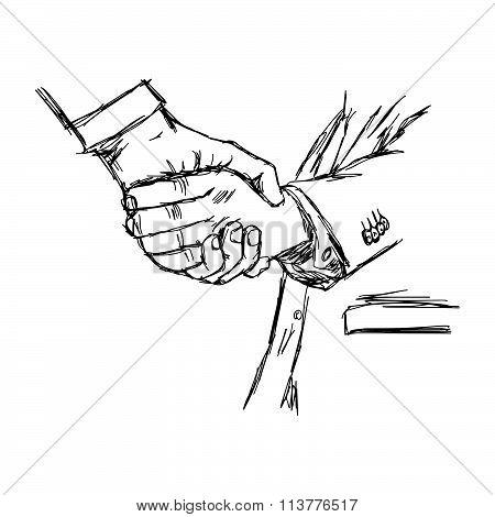 Illustration Vector Doodle Hand Drawn Sketch Of Handshake Between Businessman, Partnership Concept.