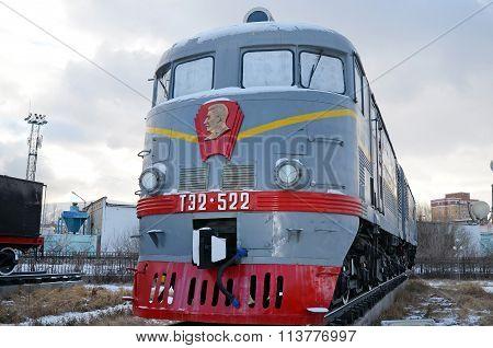 Ulaanbaatar, Mongolia-dec,02 2015: Locomotive Te2-522. Museum Of Railway Equipment In Ulaanbaatar. M