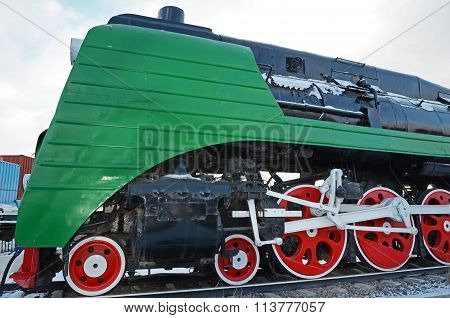 Ulaanbaatar, Mongolia-dec,02 2015: Steam Locomotive P36A. Museum Of Railway Equipment In Ulaanbaatar
