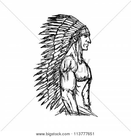 Illustration Vector Hand Drawn Doodle Portrait Of Indian Man With Muscle.