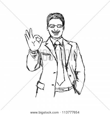 Illustration Vector Doodle Hand Drawn Of Sketch Smiling Businessman With Glasses Showing Okay Hand S