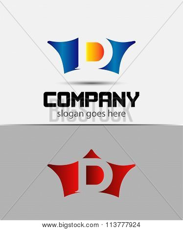 Sign the letter D Branding Identity crown logo design template