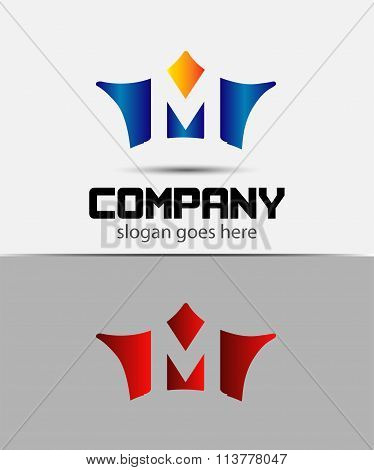 Sign the letter M Branding Identity crown logo design template