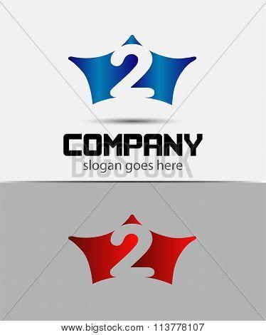 Number 2 logo. Vector crown logotype design
