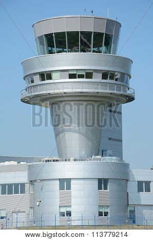Control Tower On Poznan Lawica Airport.