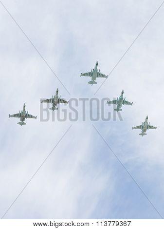 Five Su-25 In Flight