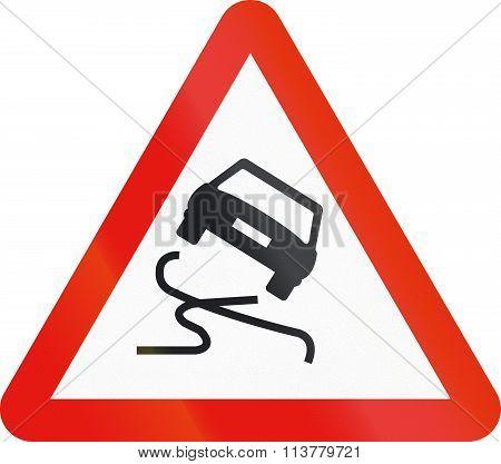 Road Sign Used In Spain - Slip Danger