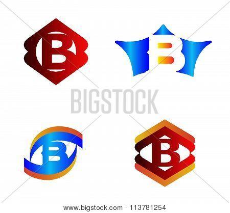 Letter B set Alphabetical Logo Design Concepts