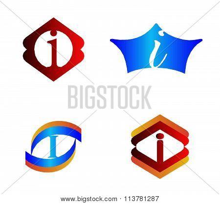 Letter I set Alphabetical Logo Design Concepts