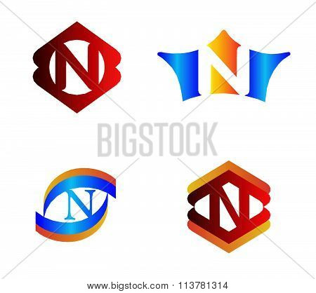 Letter N set Alphabetical Logo Design Concepts