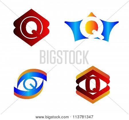 Letter Q set Alphabetical Logo Design Concepts