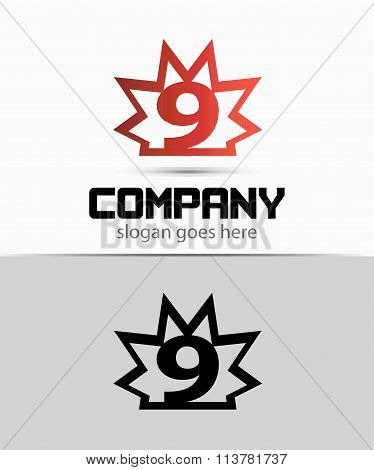 Number nine 9 logo icon template