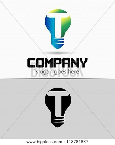 Shutter light bulb abstract T logo template