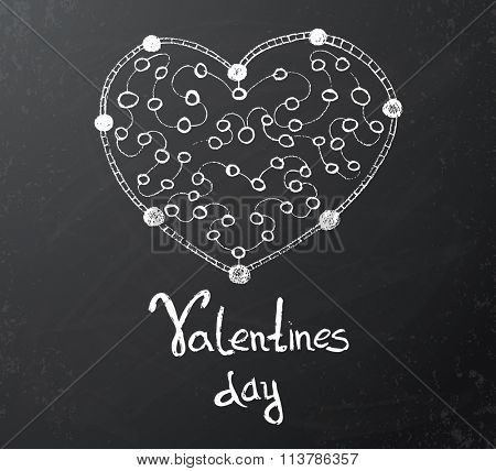 Valentines day card with chalkboard drawing of white heart. Vector illustration.