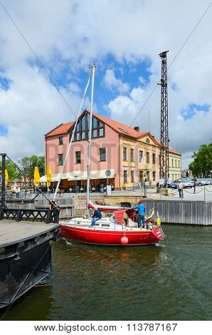 Yacht Passes Through Moat Of Dassel, Klaipeda, Lithuania