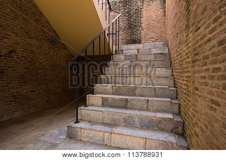 Italian Brick Stairway And Handrail With Brickwall